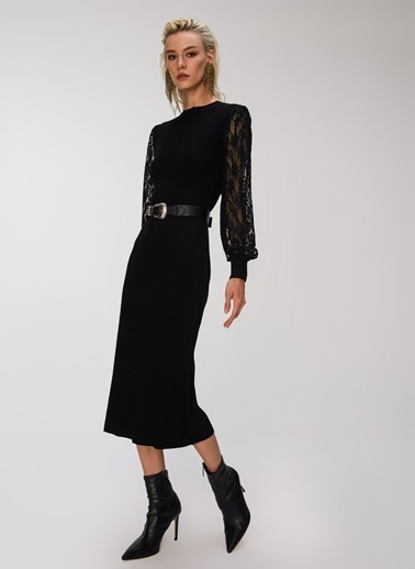People By Fabrika Dantel Detaylı Triko Elbise Siyah